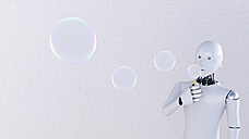 Robot blowing soap bubbles, 3d rendering - AHUF00424