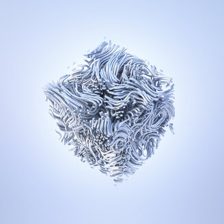 Abstract metal cube, 3d rendering - AHUF00427