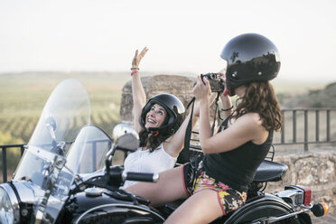 Two women with their sidecar motorcycle - JASF01808