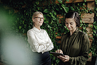 Two businesswomen with tablet in green office - JOSF01445