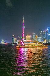China, Shanghai, illuminated skyline of Pudong at night - THAF01975
