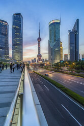 China, Shanghai, Lujiazui, skyline of  at Blue hour - THAF01981