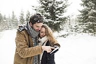Happy young couple standing in snow-covered winter forest using cell phone - HAPF02086