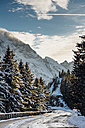 Germany, Berchtesgadener Land, Berchtesgaden National Park, Rossfeld Scenic Road in winter - MJF02171