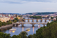 Czech Republic, Prague, cityscape with old town, Mala Strana, Charles Bridge and tourboats on Vltava - WDF04094
