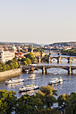 Czech Republic, Prague, cityscape with Charles Bridge and boats on Vltava - WDF04133