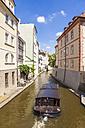 Czech Republic, Prague, Mala Strana, Kampa island, Vltava arm Certovka, tourboat - WD04151