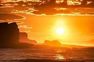 UK, Scotland, East Lothian, Seacliff at sunset - SMAF00820