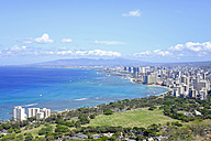 USA, Hawaii, Honolulu cityscape as seen from Diamond Head - HLF01016