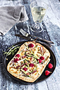 Homemade pizza with zucchini, mozzarella, ricotta, bacon and raspberries - SARF03358