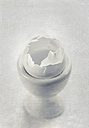 Empty eggshell in white eggcup - DWIF00870