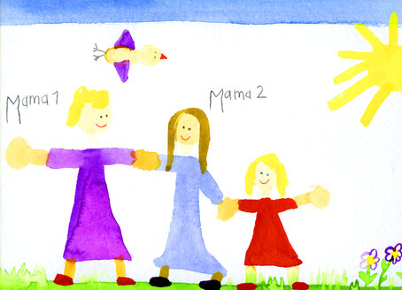 Children's drawing of lesbian couple and girl - CMF00720