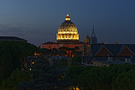 Italy, Rome, illuminated St. Peter's Basilica at night - LBF01639