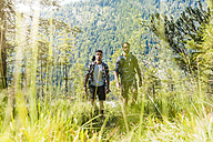 Germany, Bavaria, two friends hiking - DIGF02778