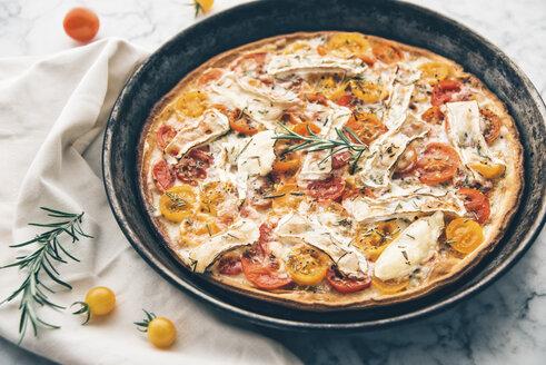 Tomato tart with goat cheese camembert, mustard and rosemary - IPF00412