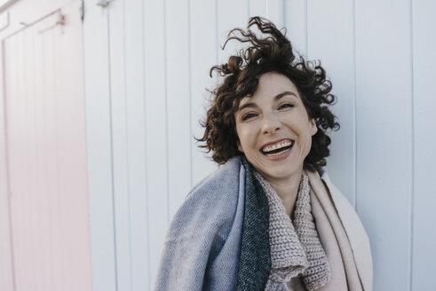 Portrait of happy woman outdoors - KNSF02627
