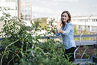 Businesswoman cultivating vegetables in his urban rooftop garden - KNSF02796