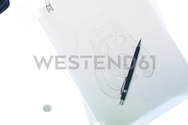 Tattoo design motif on light table in studio - IGGF00166