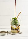 Jar of vegetarian mixed salad with Kritharaki, corn, rocket and cranberries and balsamico vinegar - ECF01888
