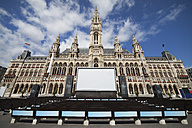 Austria, Vienna, view to city hall with empty screen and rows of seats in the foreground - ABOF00252