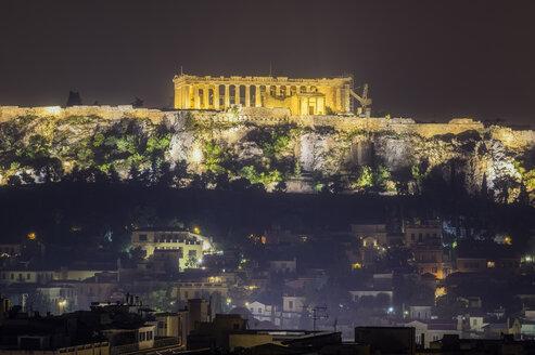 Greece, Athens, illuminated Acropolis at night - THAF02019