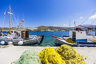 Greece, Amorgos, Katapola, fishing boats at pier - THAF02031
