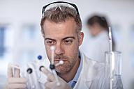 Scientist working in lab holding molecular structure - ZEF14607