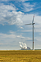 Germany, Grevenbroich, Neurath power station and wind turbine - FRF00548