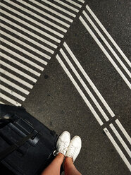 feet, legs, travel, street, white shoes, stripes, suitcase, Zurich, Switzerland - NGF00400
