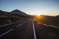 Spain, Tenerife, El Teide, Empty road at sunset - SIPF01748