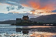 UK, Scotland, Dornie, Loch Duich, Eilean Donan Castle at sunset - FOF09356