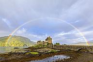 UK, Scotland, Dornie, Loch Duich, Eilean Donan Castle with rainbow - FOF09359