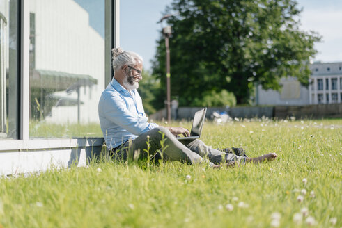 Mature man using laptop on meadow - JOSF01732