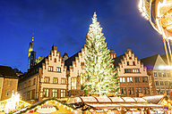 Germany, Frankfurt, Christmas tree on Christmas market at Roemerberg - PUF00712