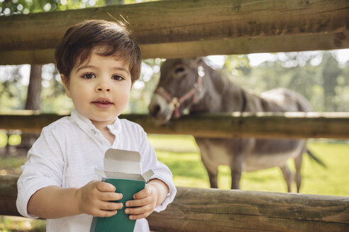 Portrait of toddler with box of animal food in wild park - MFF03956