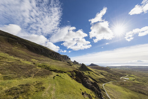 UK, Scotland, Inner Hebrides, Isle of Skye, Trotternish, Quiraing, view towards The Prison and Meall na Suiramach - FOF09377