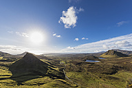UK, Scotland, Inner Hebrides, Isle of Skye, Trotternish, view from Quiraing towards Staffin Bay - FOF09383