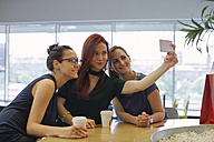 Girl friends on a shopping spree meeting in a coffee shop, taking selfies - MOMF00243
