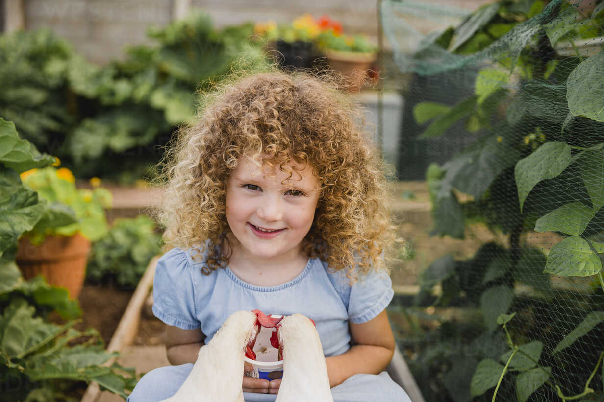 Portrait of happy little girl feeding chickens in allotment - NMSF00158 - Nicole Matthews/Westend61