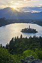 Slovenia, Bled,  Bled island and Church of the Assumption of Maria at sunrise - LOMF00626