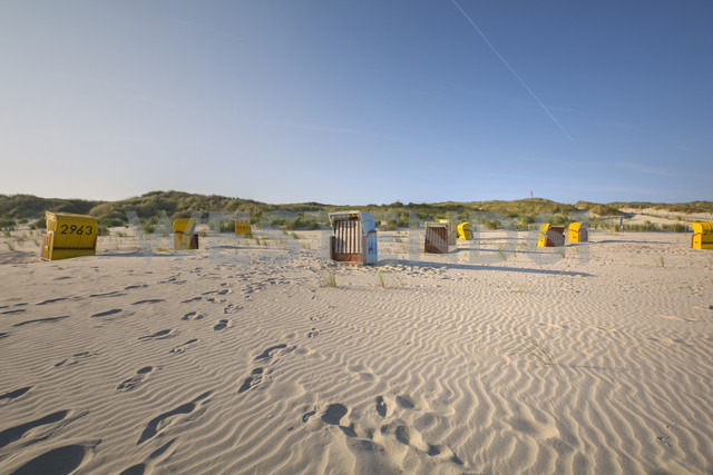 Germany, Lower Saxony, East Frisian Island, Juist, hooded beach chairs on the beach - ODF01547