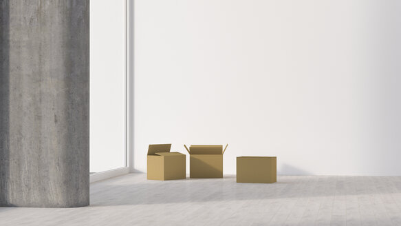 Cardboard boxes in empty room - UWF01284