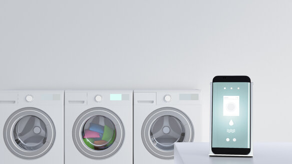 Smartphone with washing app on charging station - UWF01290
