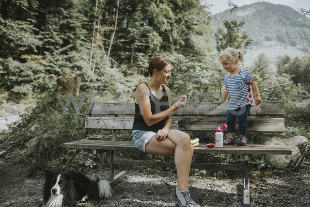 Mother and toddler with dog on a bench in forest - DWF00296 - Frederik Franz/Westend61