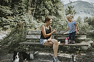 Mother and toddler with dog on a bench in forest - DWF00296