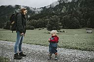 Austria, Vorarlberg, Mellau, mother and toddler on a trip in the mountains - DWF00302
