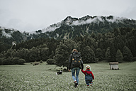 Austria, Vorarlberg, Mellau, mother and toddler on a trip in the mountains - DWF00305