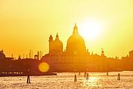 Italy, Venice, Silhouette of Santa Maria della Salute at sunset - MRF01723