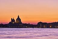 Italy, Venice, Silhouette of Santa Maria della Salute at sunset - MRF01726