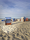 Germany, Juist, Hooded beach chairs at Juist beach - ODF01552